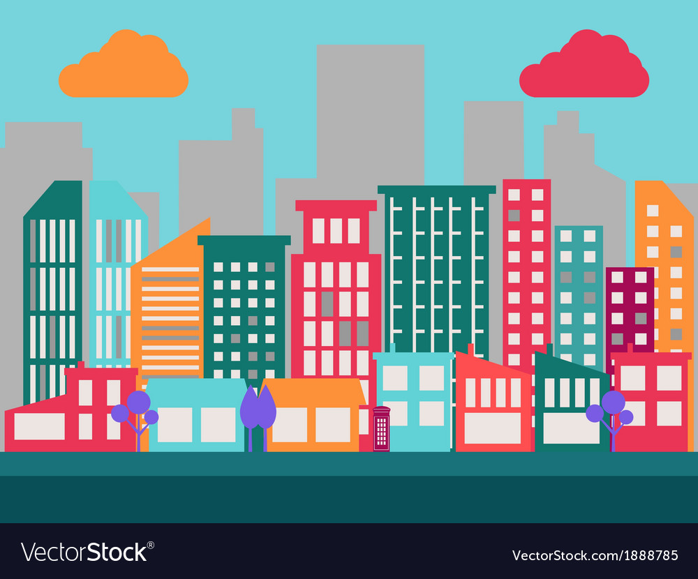 Flat city scene 1
