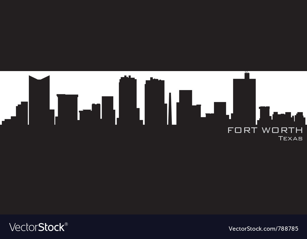 Fort worth texas skyline detailed silhouette