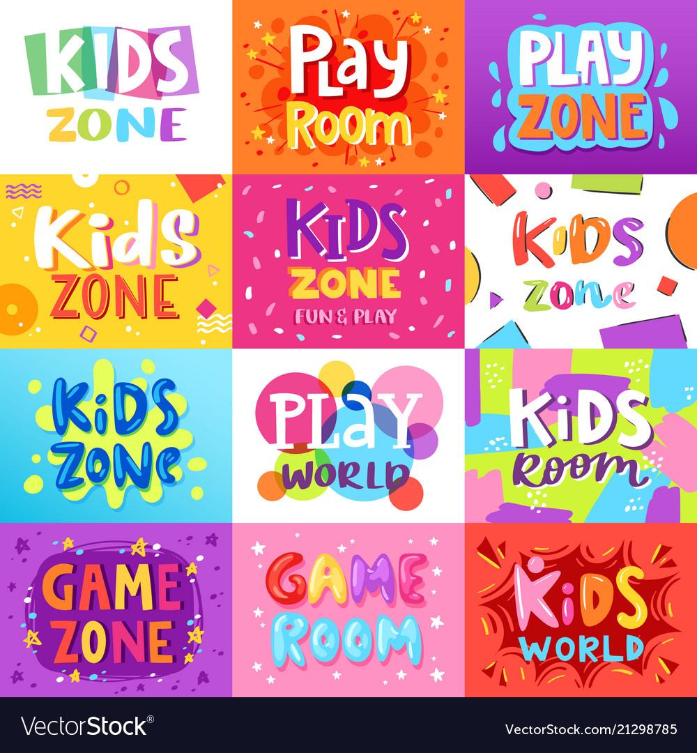 Game room kids playroom banner in cartoon