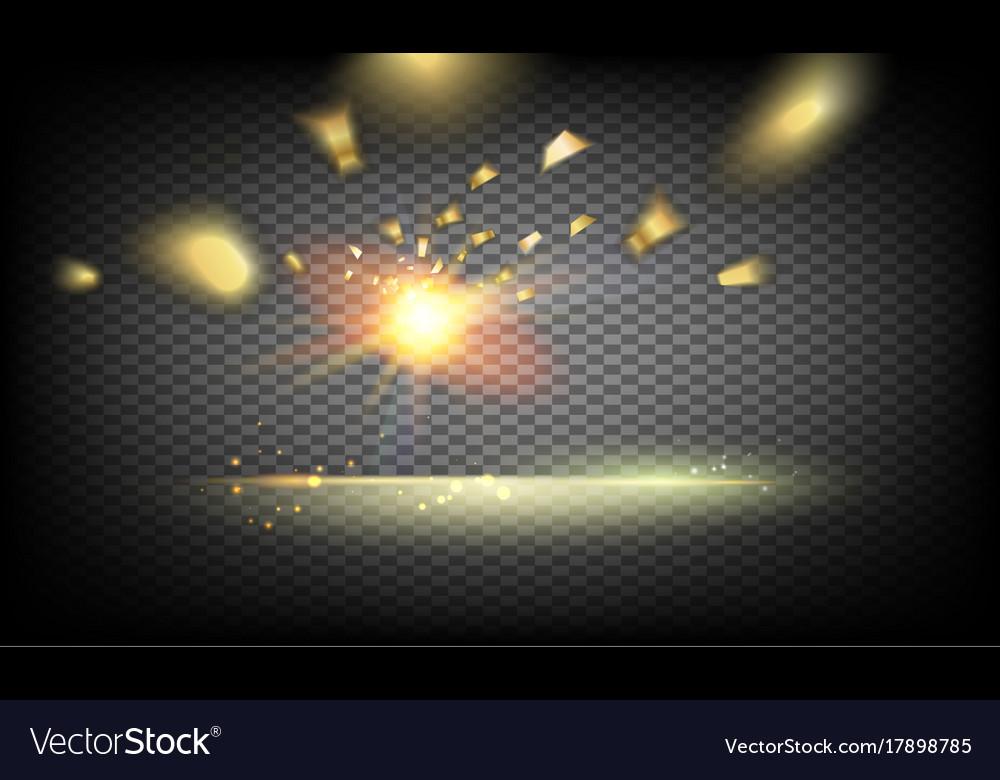Golden confetti falls