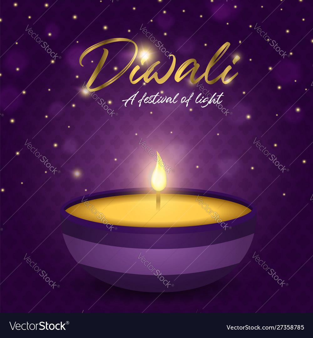 Happy diwali festival card gold indian diya candle