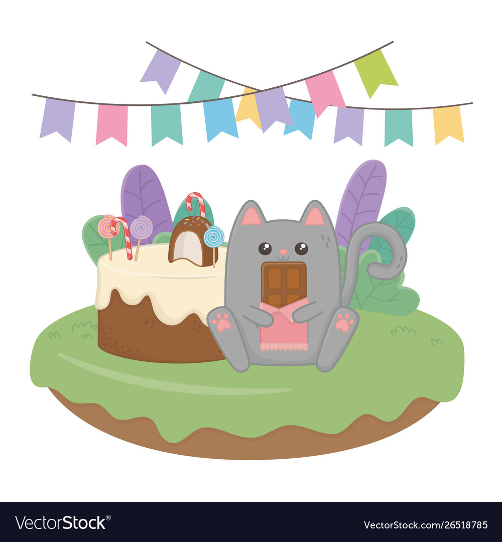 Kawaii Cat With Happy Birthday Cake Design Vector Image