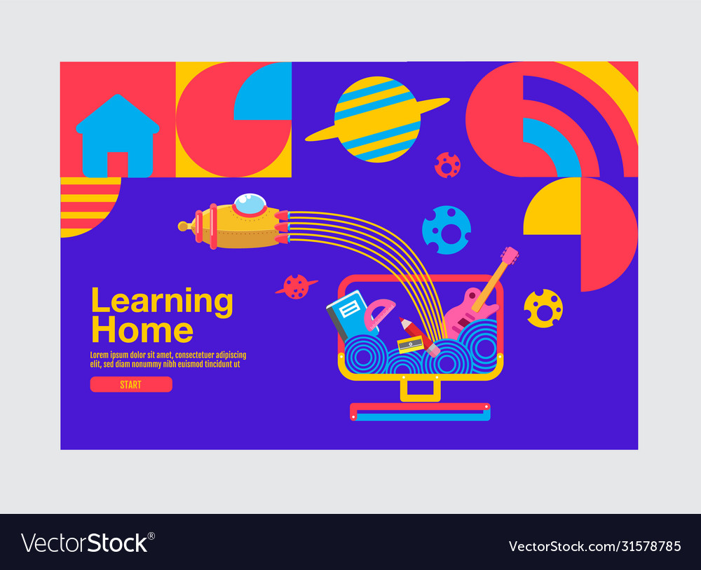 Learning Home Education Banner Template Royalty Free Vector