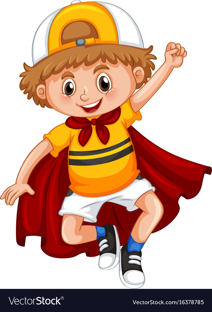Little boy with red cape vector image