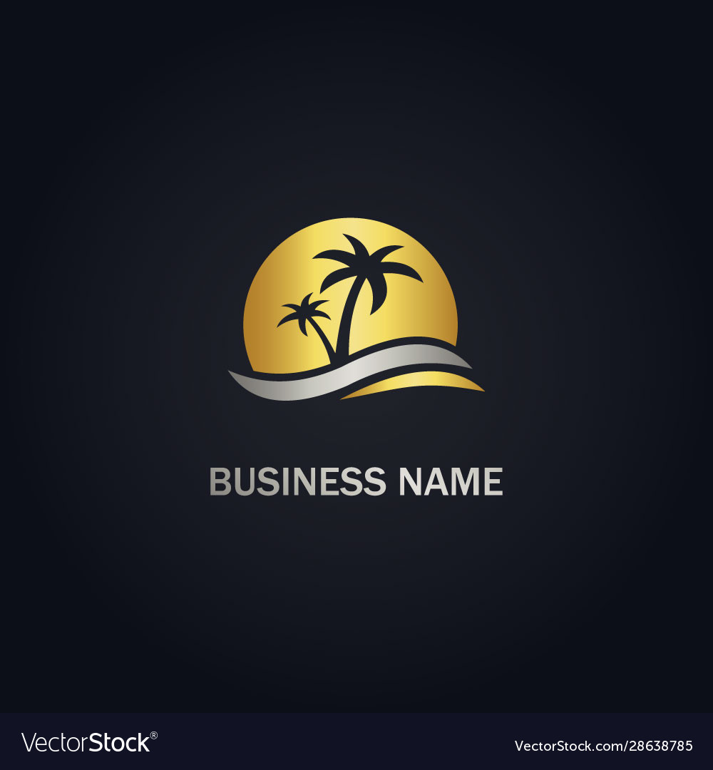 Palm tree sunset beach gold logo