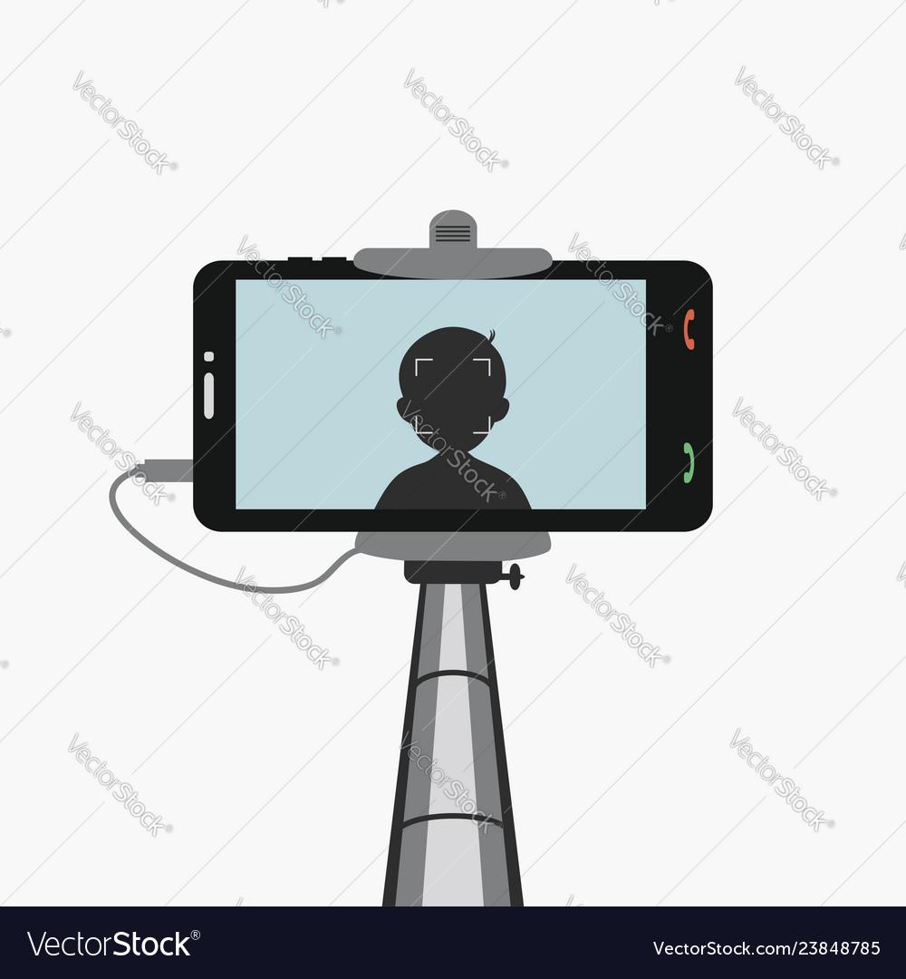 Phone in monopod selfie