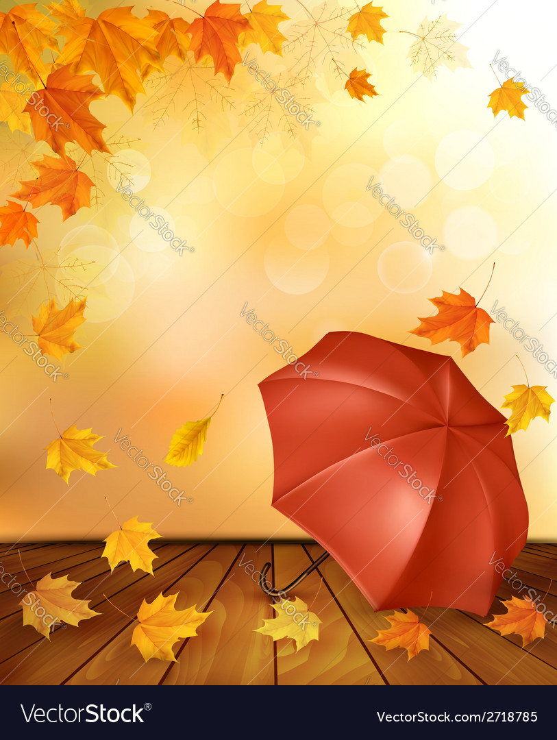 Retro autumn background with colorful leaves and