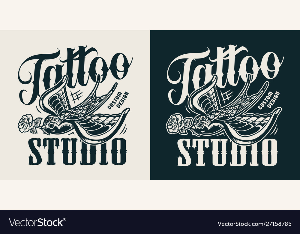 Vintage tattoo studio logotype