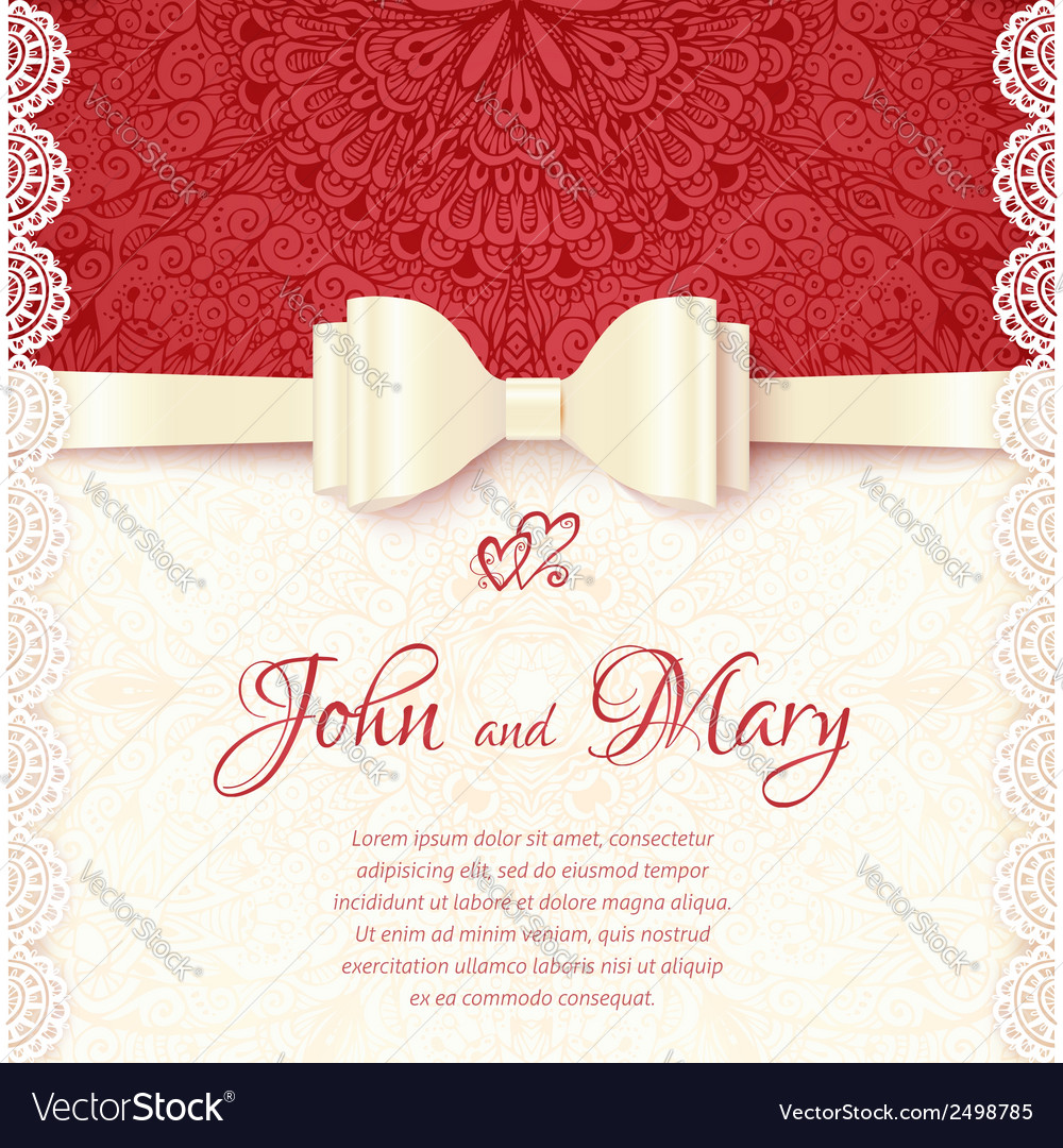 Vintage wedding card template Royalty Free Vector Image