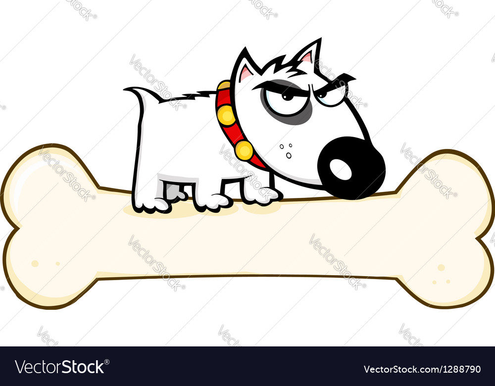 Angry Dog Bull Terrier Stepped On Big Bone vector image
