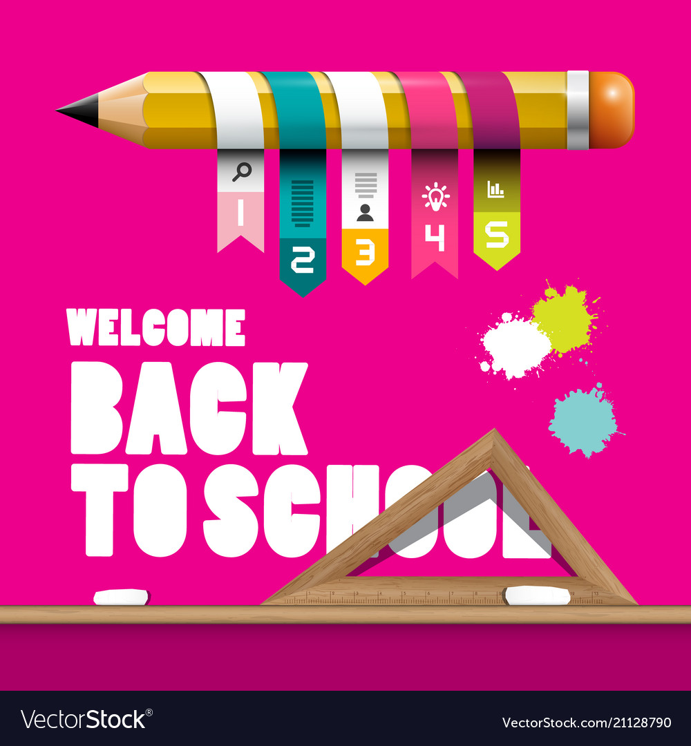 Back to school design with pencil infographic vector image