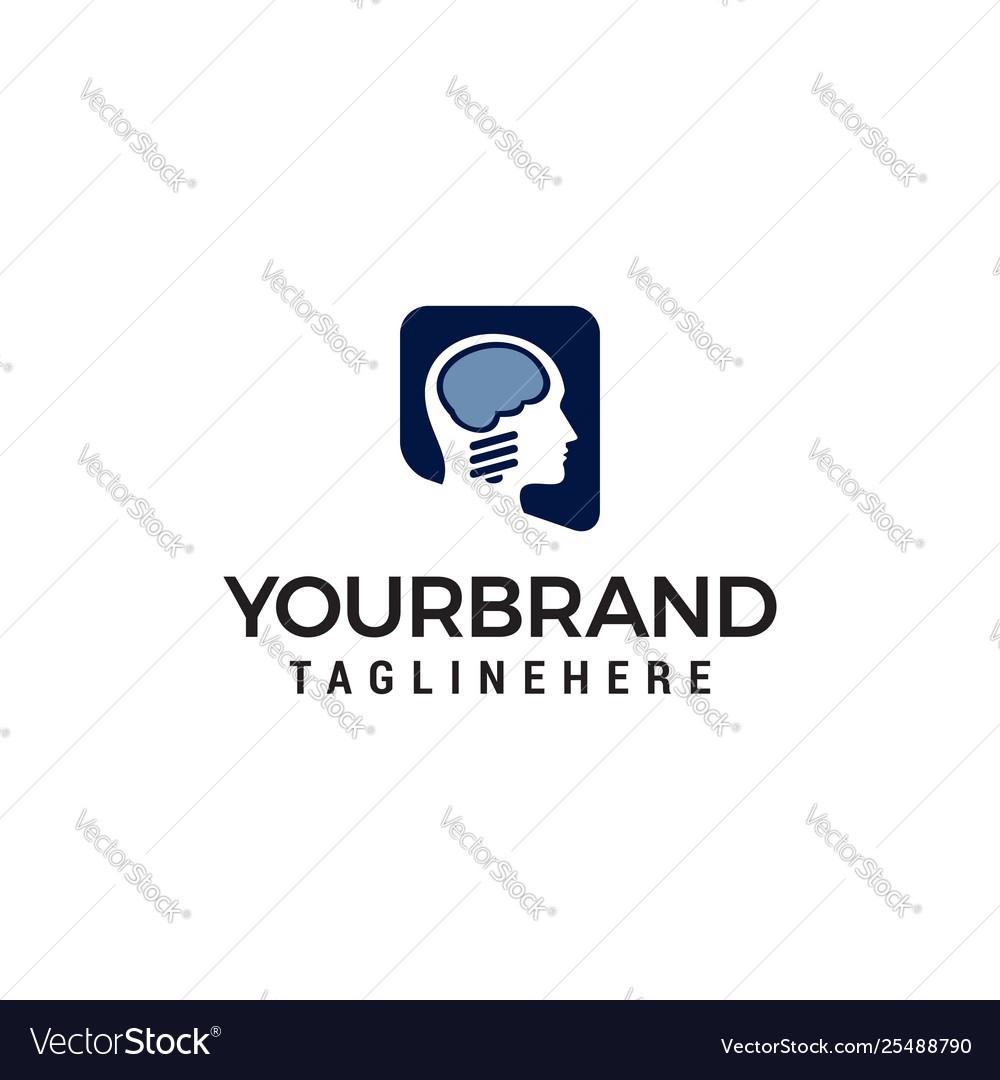Brain head logo design concept template