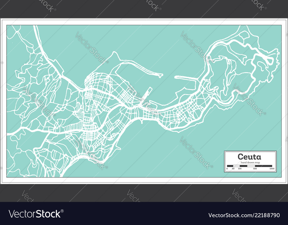 Ceuta spain city map in retro style outline map Vector Image on