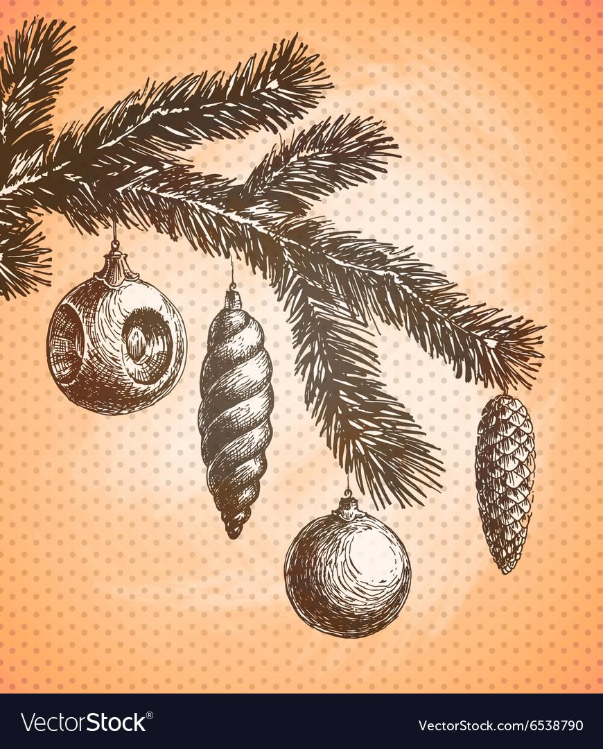 Christmas decoration on a Christmas tree sketch