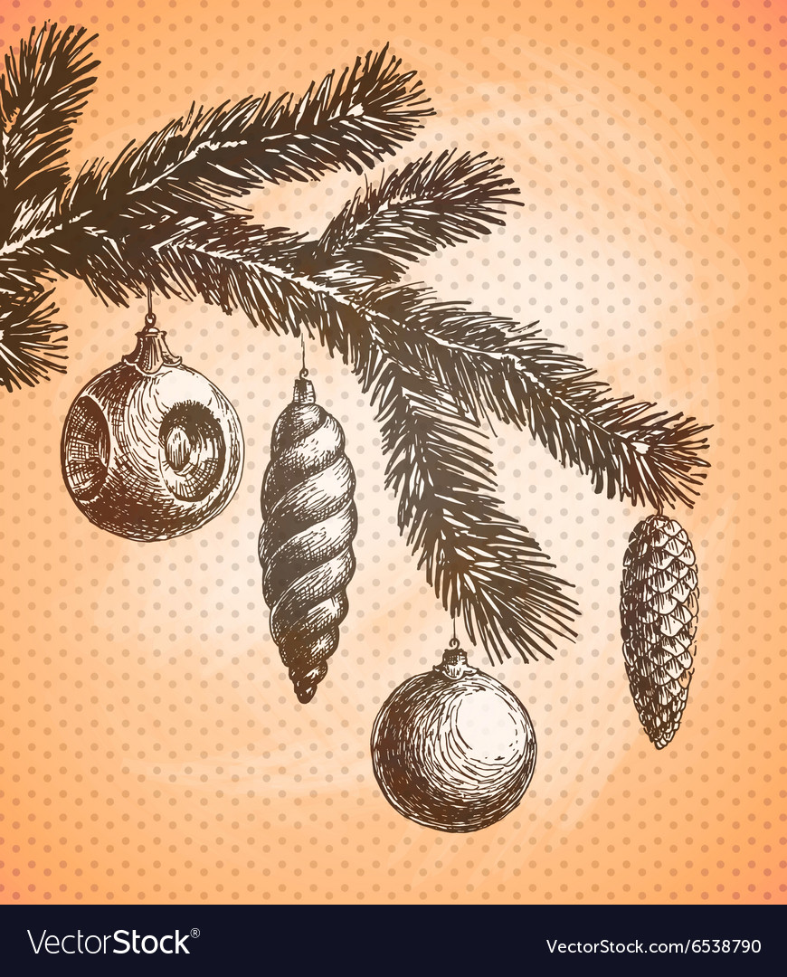 Christmas decoration on a tree sketch