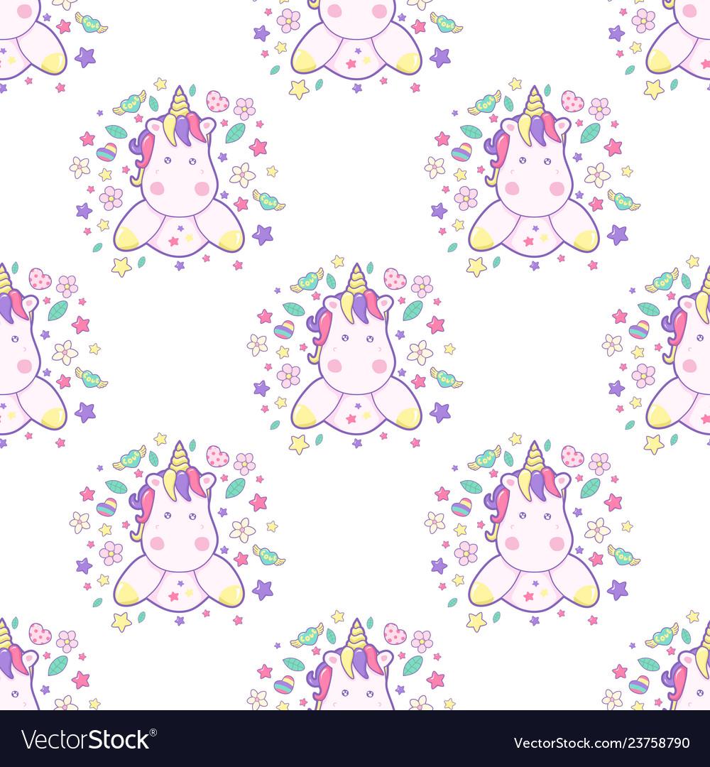 Cupcake unicorn kawaii magic food seamless