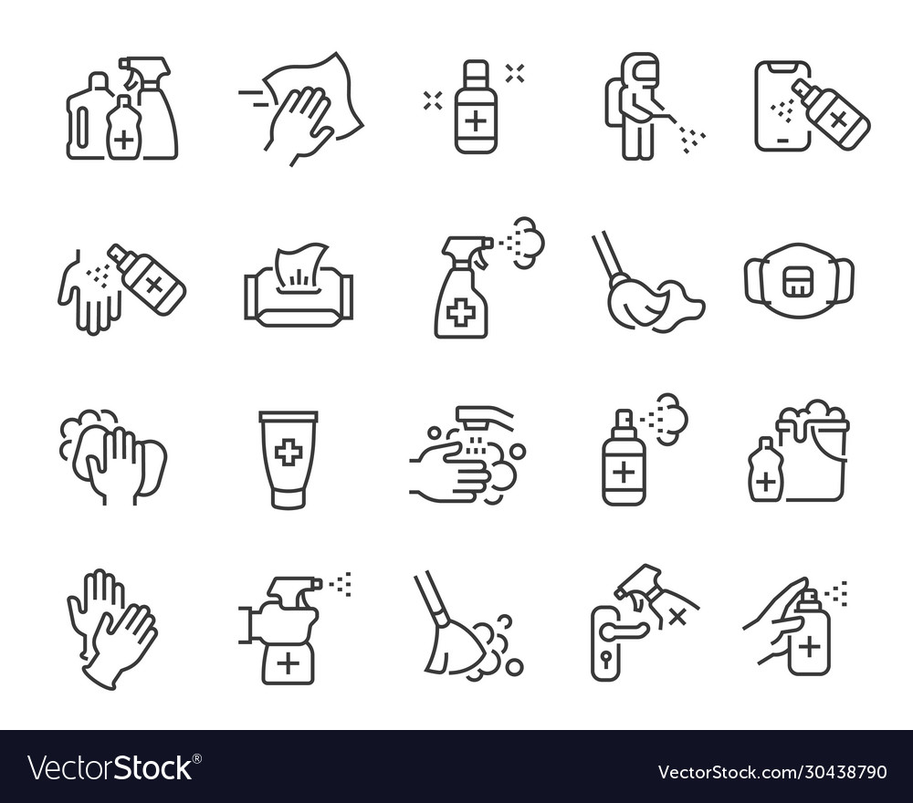 Disinfection and cleaning icon set editable