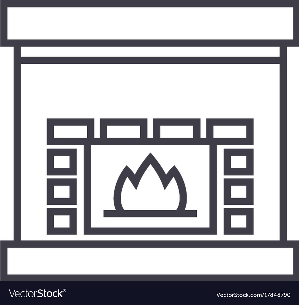 Fireplacehearth line icon sign