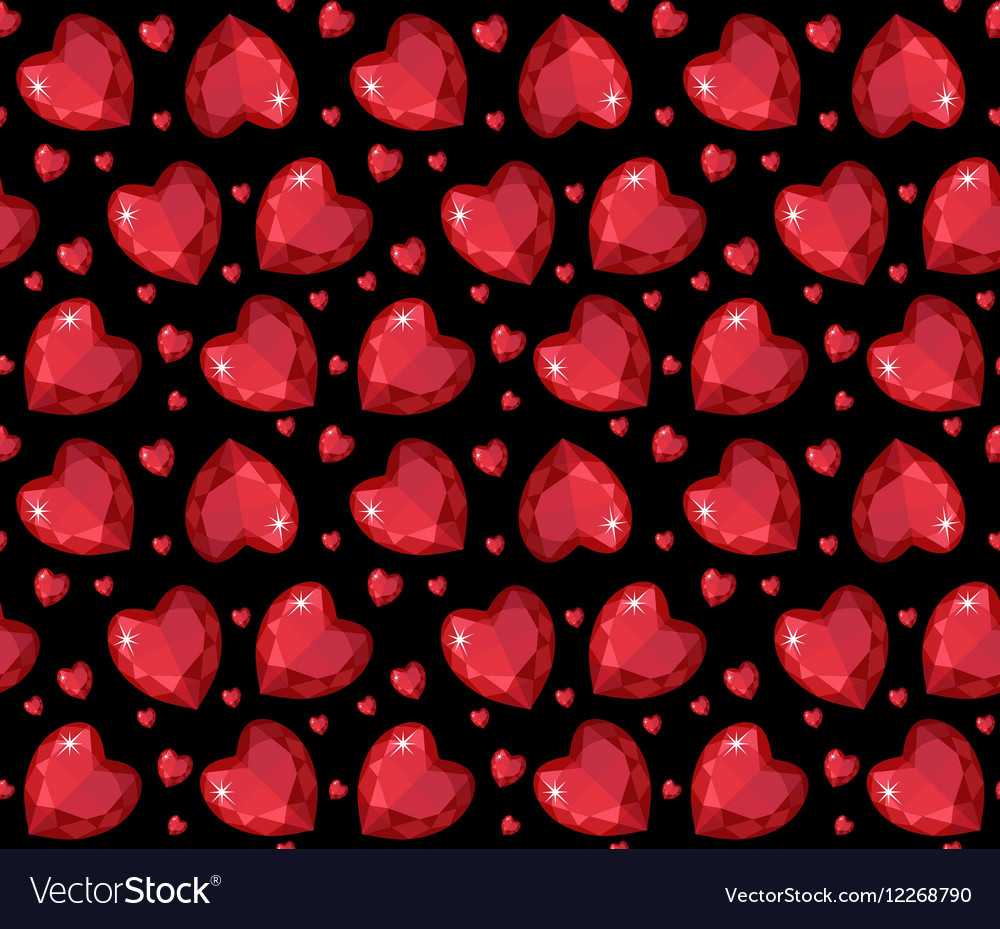 Jewelry ruby red heart seamless pattern Brilliant
