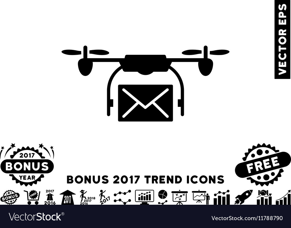 Mail Delivery Drone Flat Icon With 2017 Bonus