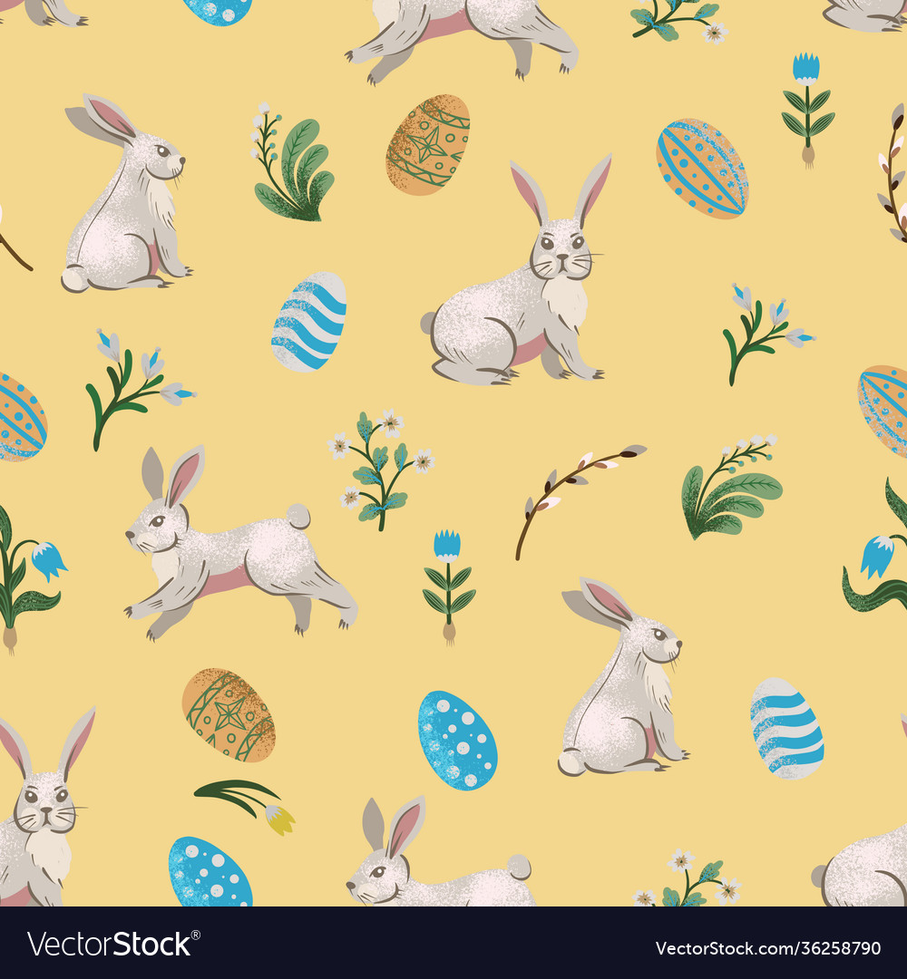 Rustic seamless pattern with trees rabbits eggs