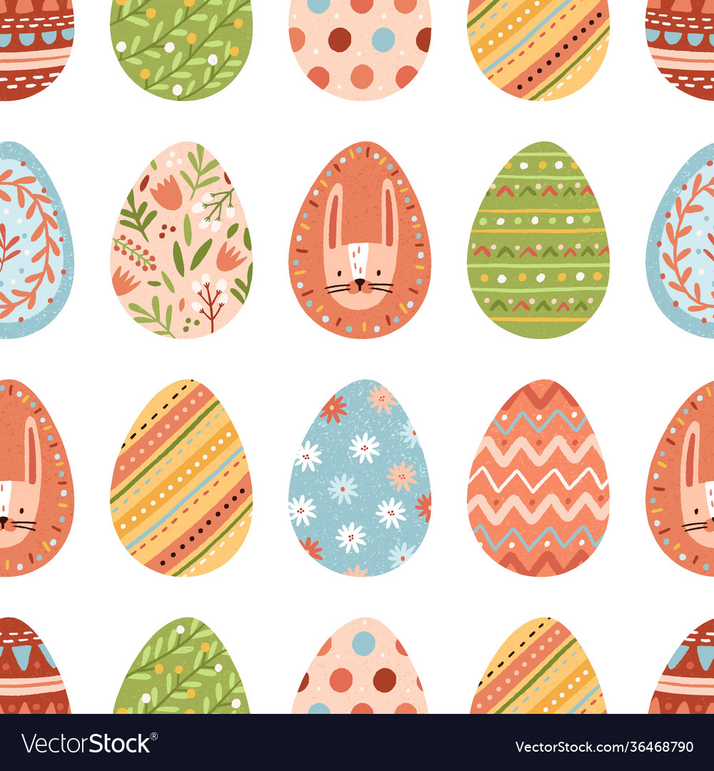 Seamless pattern with different colorful easter