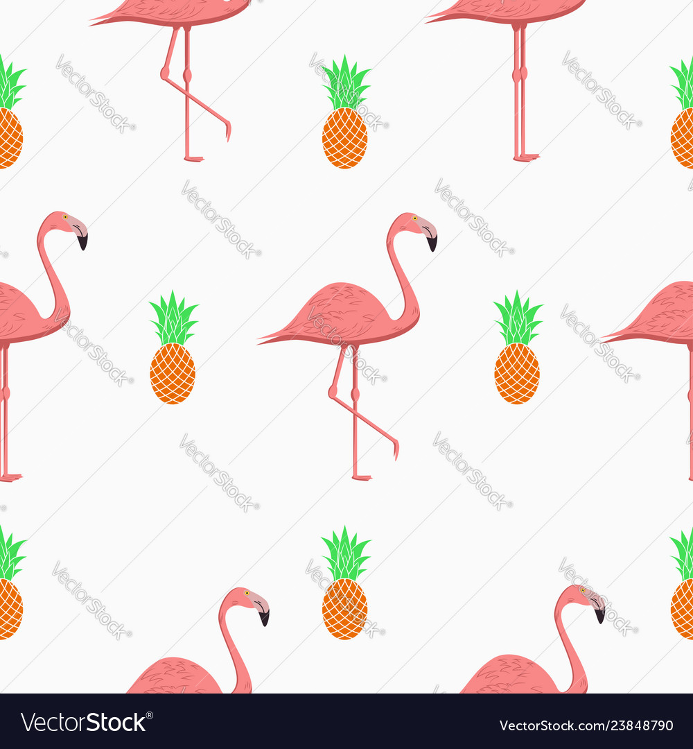 Seamless pattern with flamingos and pineapples