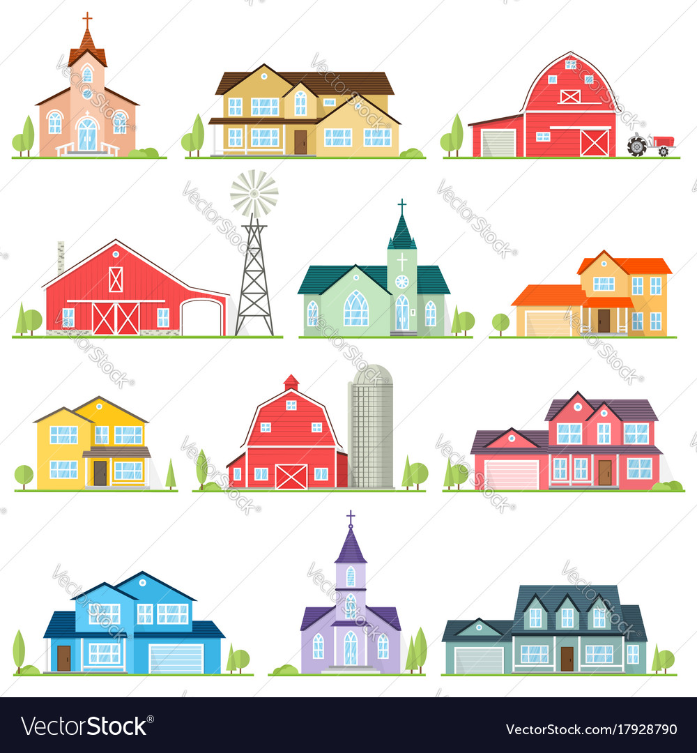 Set of flat icon suburban american houses