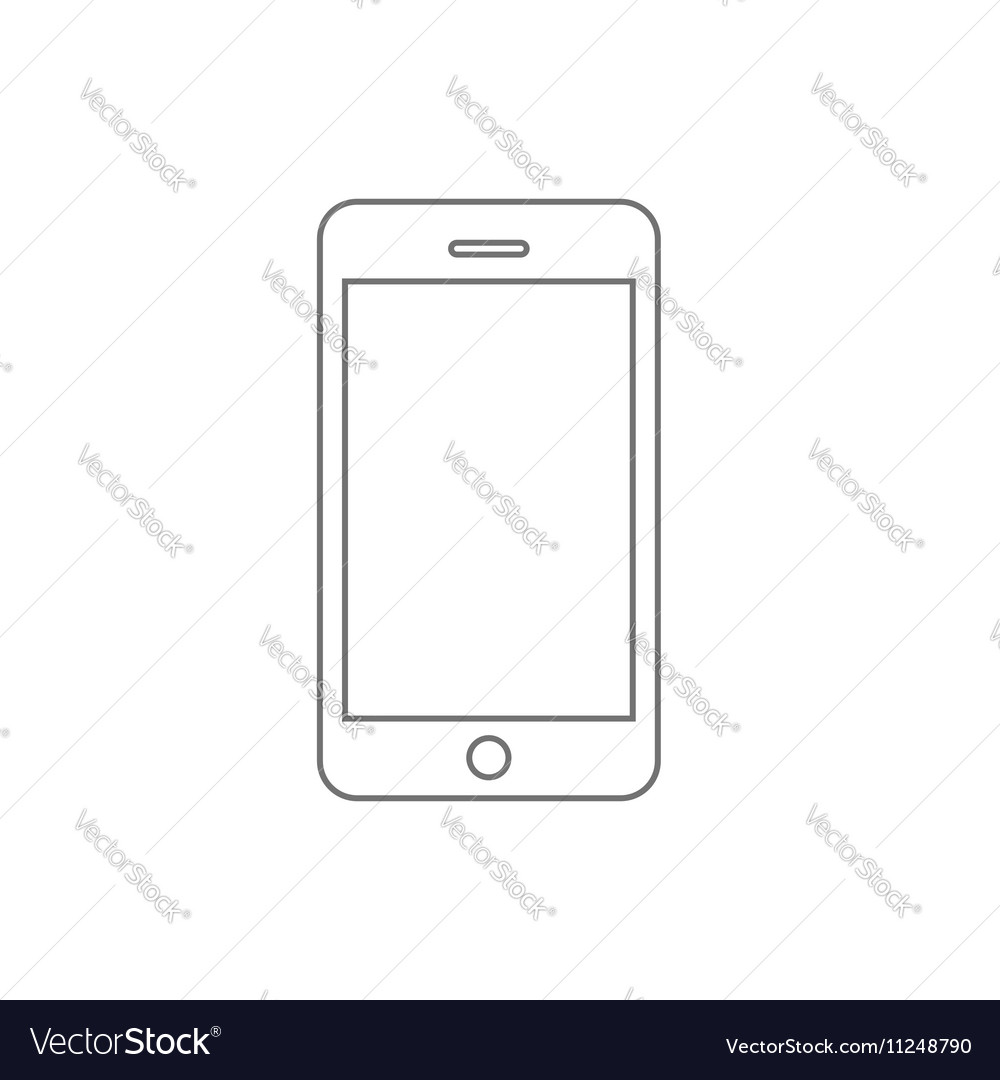 smartphone line outline style mobile phone vector image