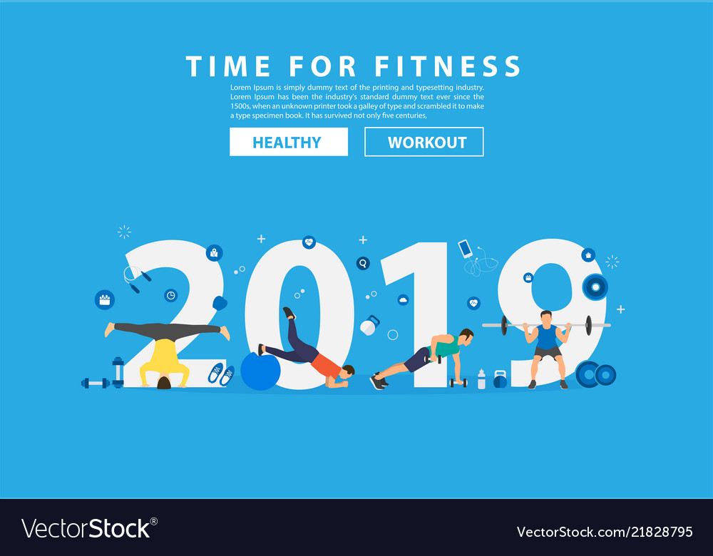 2019 new year fitness concept workout