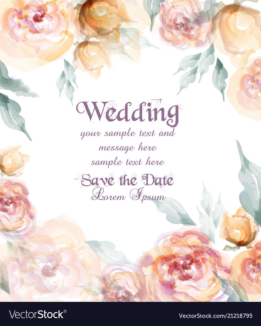 Beautiful wedding card with watercolor flowers