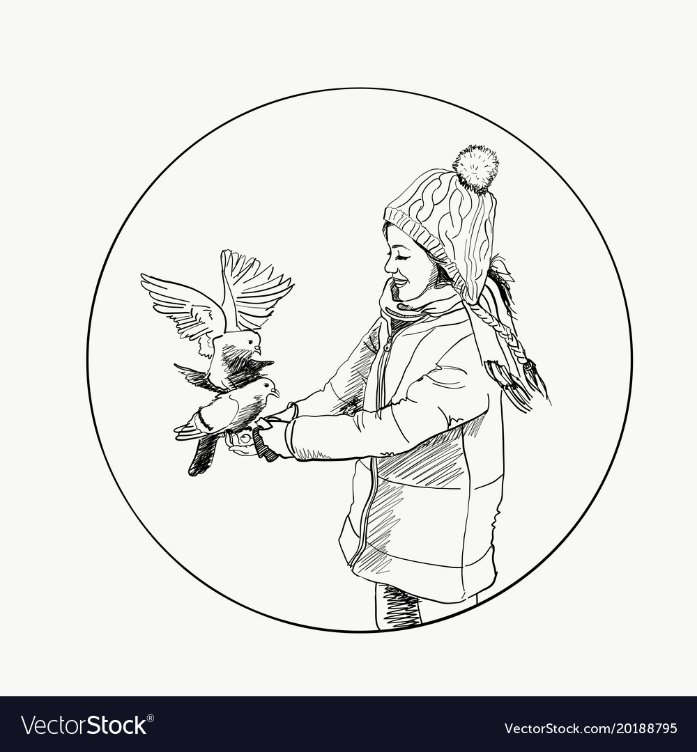 Beautiful young girl and bird winter hand drawn