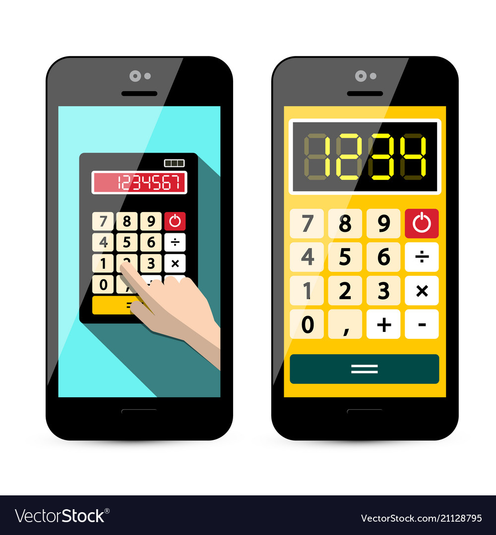 Calculator app on mobile phone isolated on white vector image