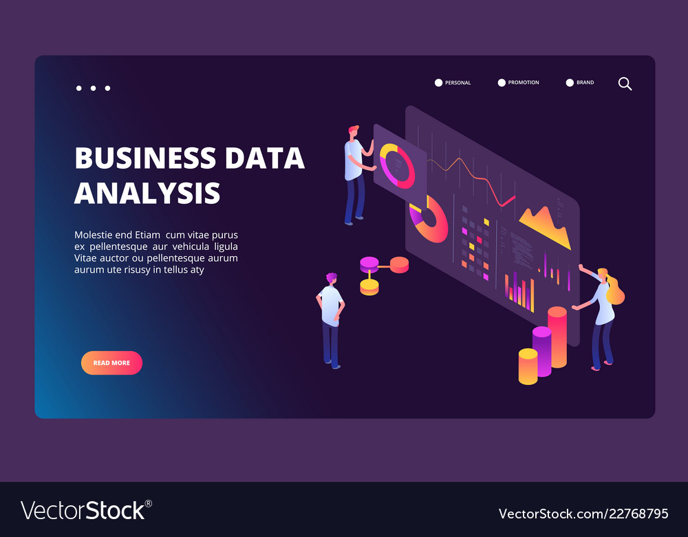 Data optimization isometric concept person with