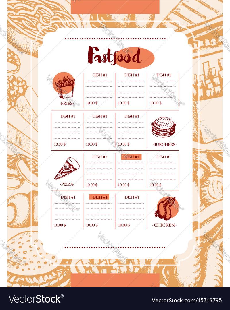 Fast food - color hand drawn vintage template menu