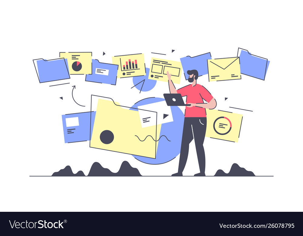 Flat isolated businessman do document flow and