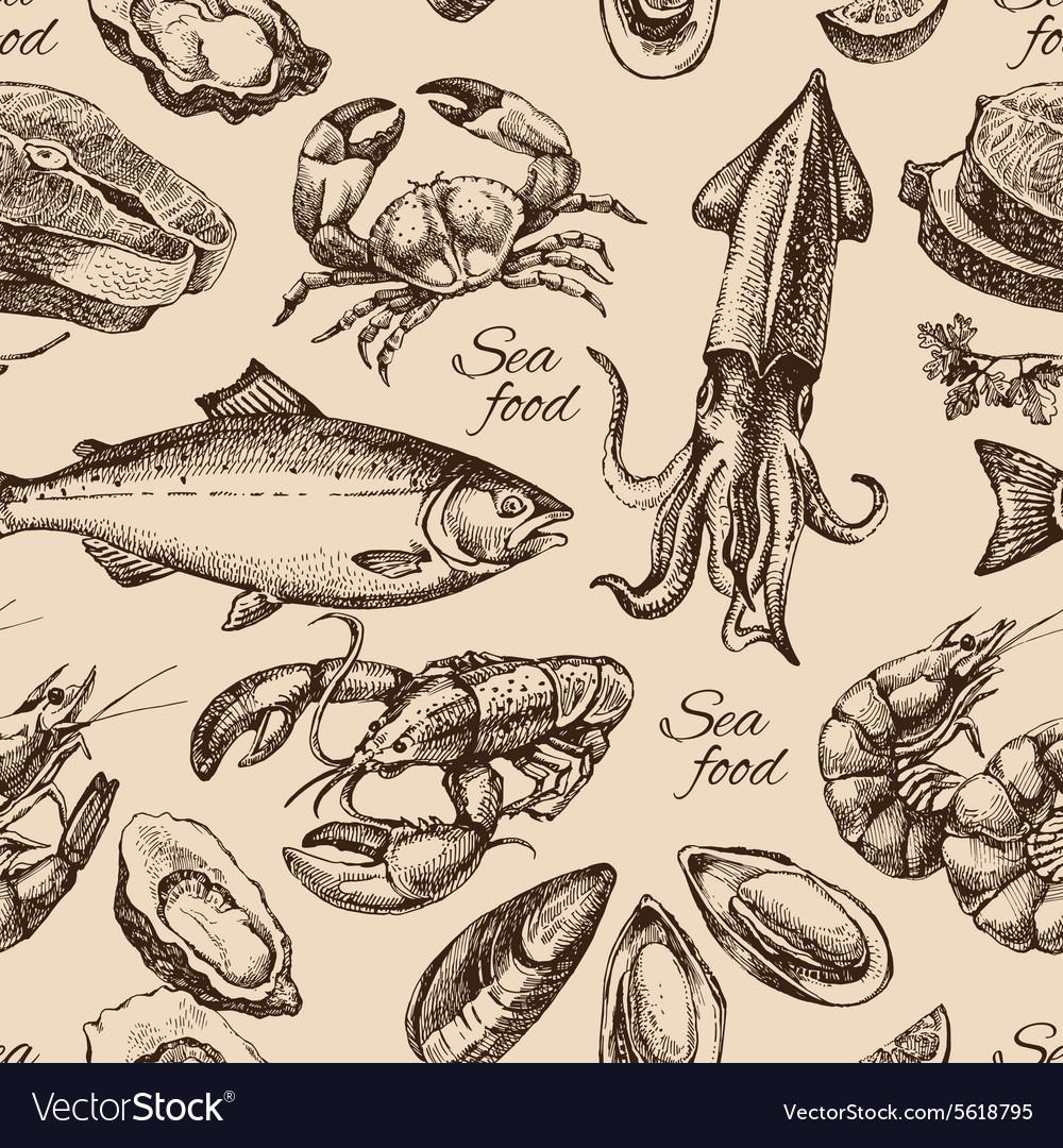 Hand drawn sketch seafood seamless pattern