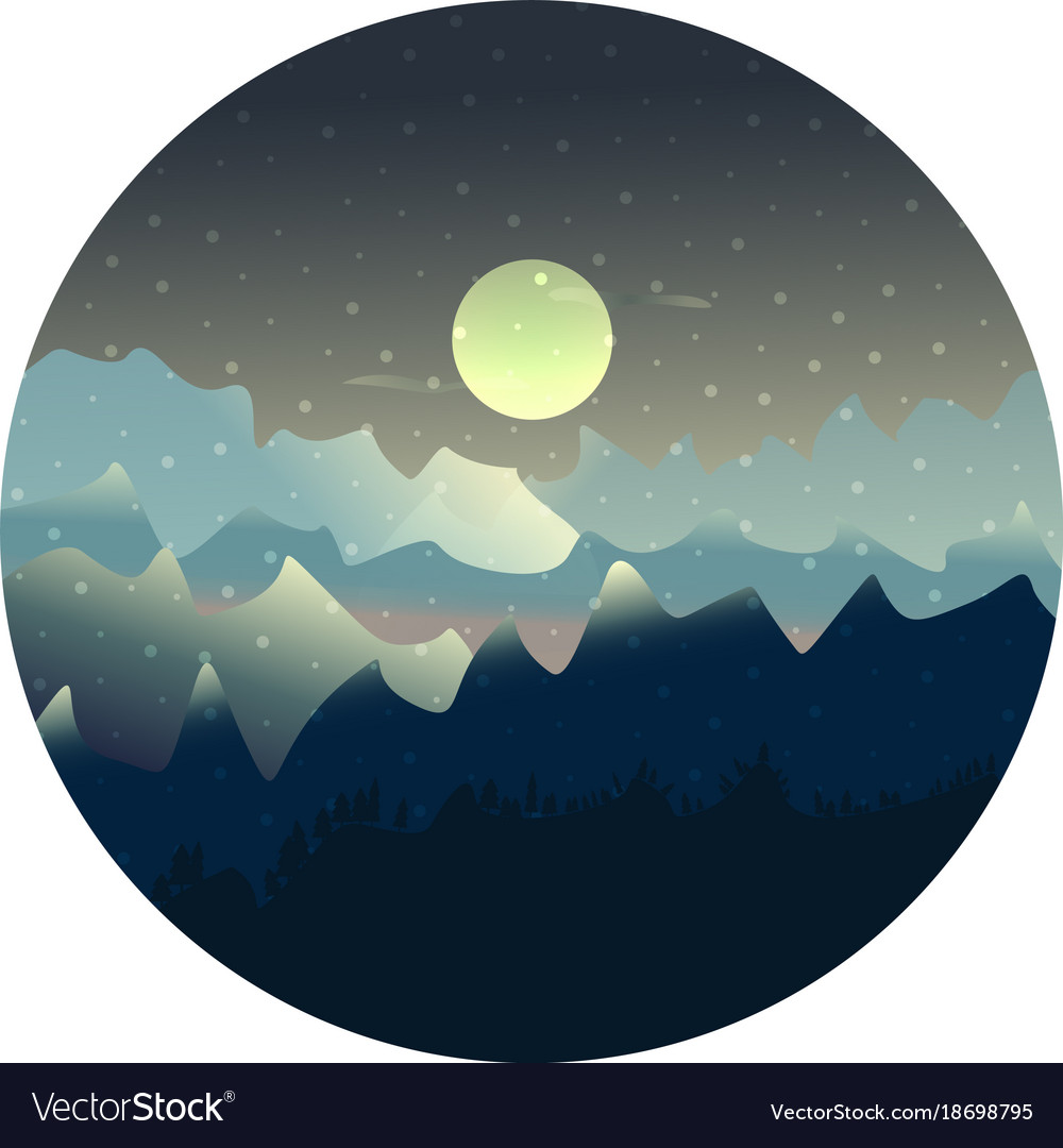 Mountains and forest landscape with moon