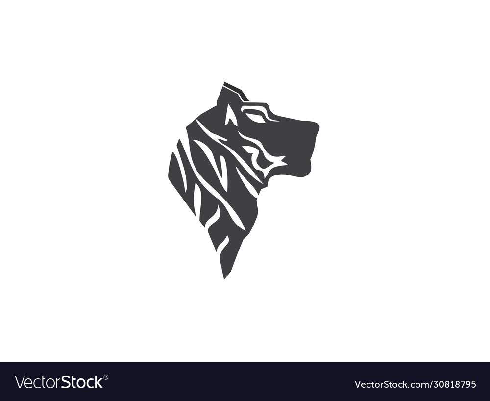 Pattern head black lines tiger silhouette