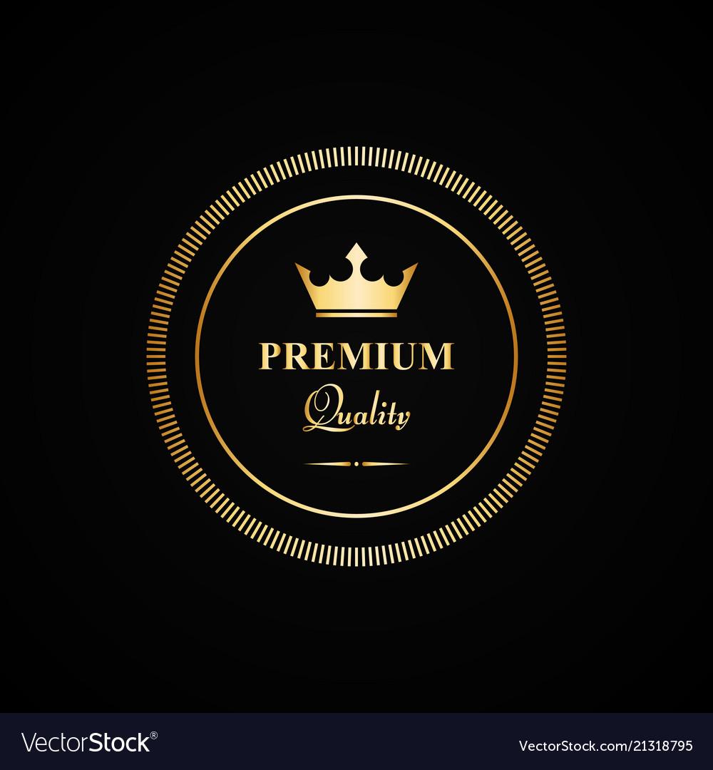 Premium quality gold badge vector image
