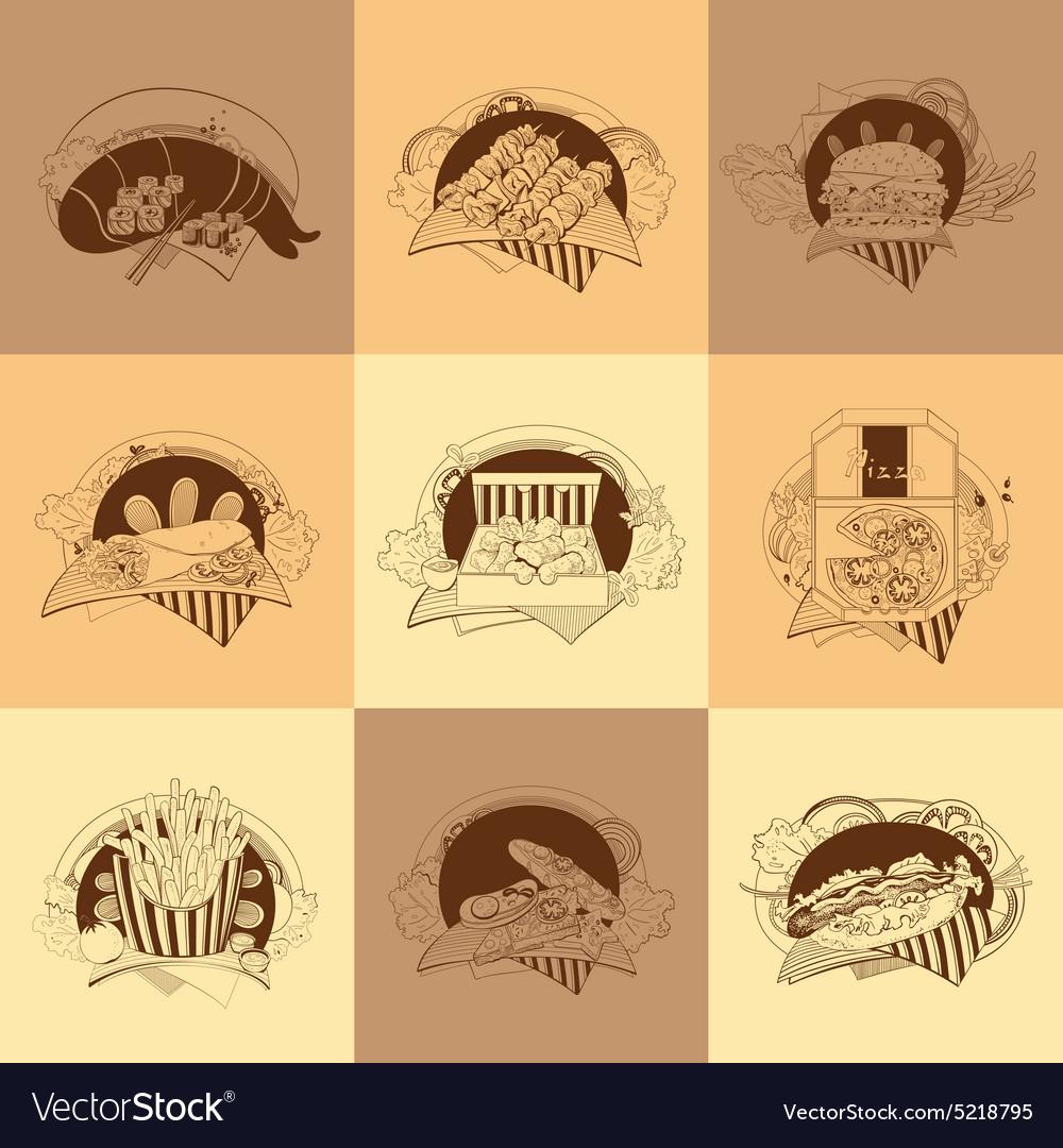 Set of nine fast-food