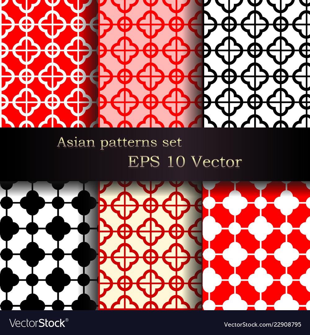 Set of seamless asian patterns