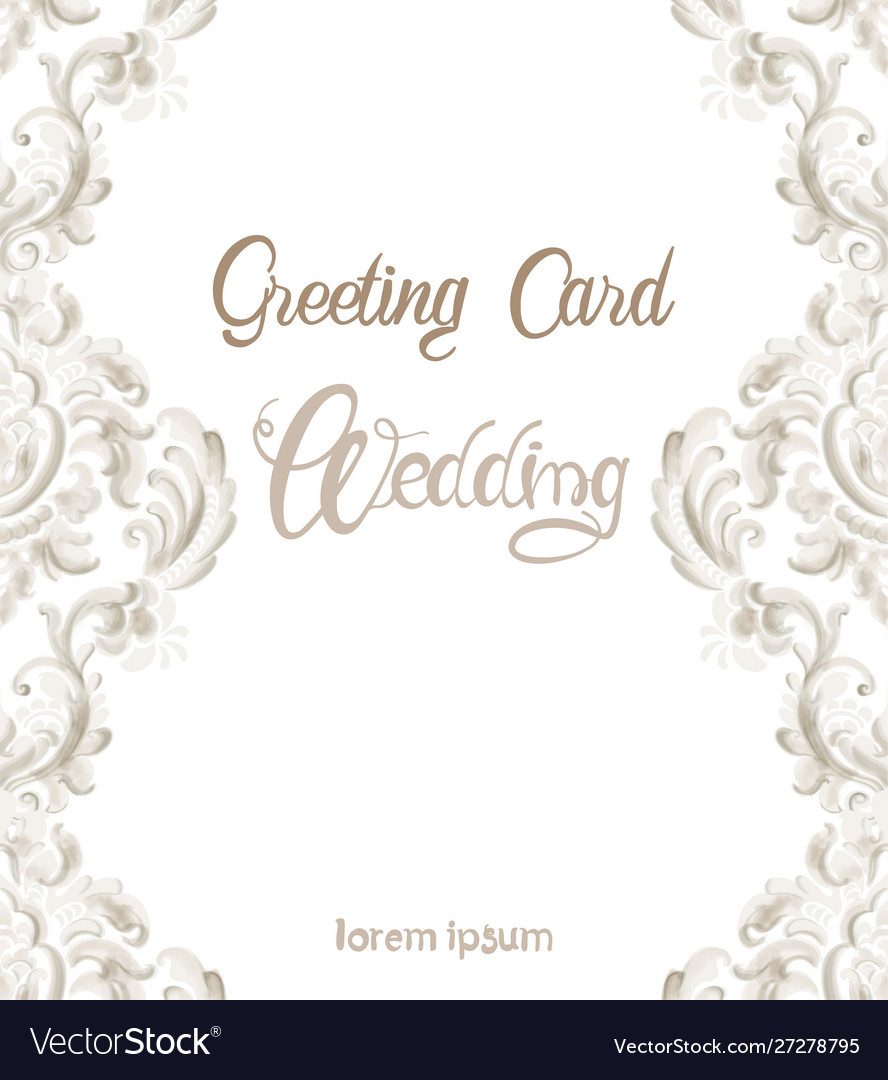 Wedding greeting card with rococo texture pattern