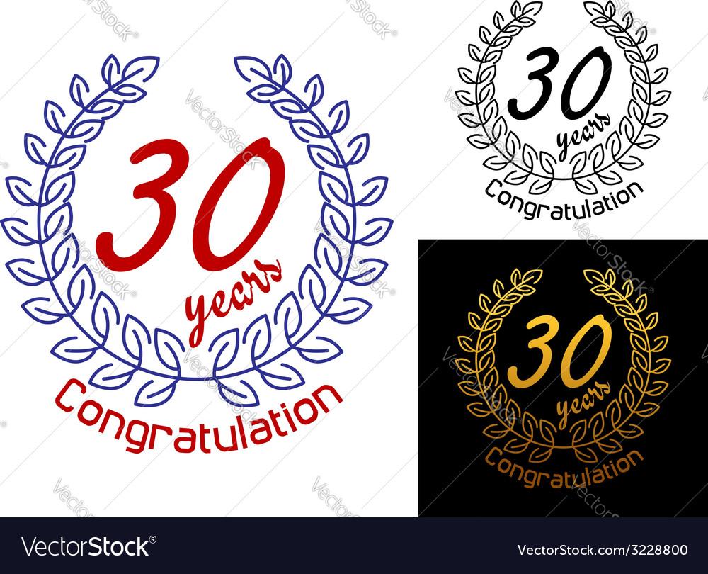 30 Years anniversary congratulations badges vector image