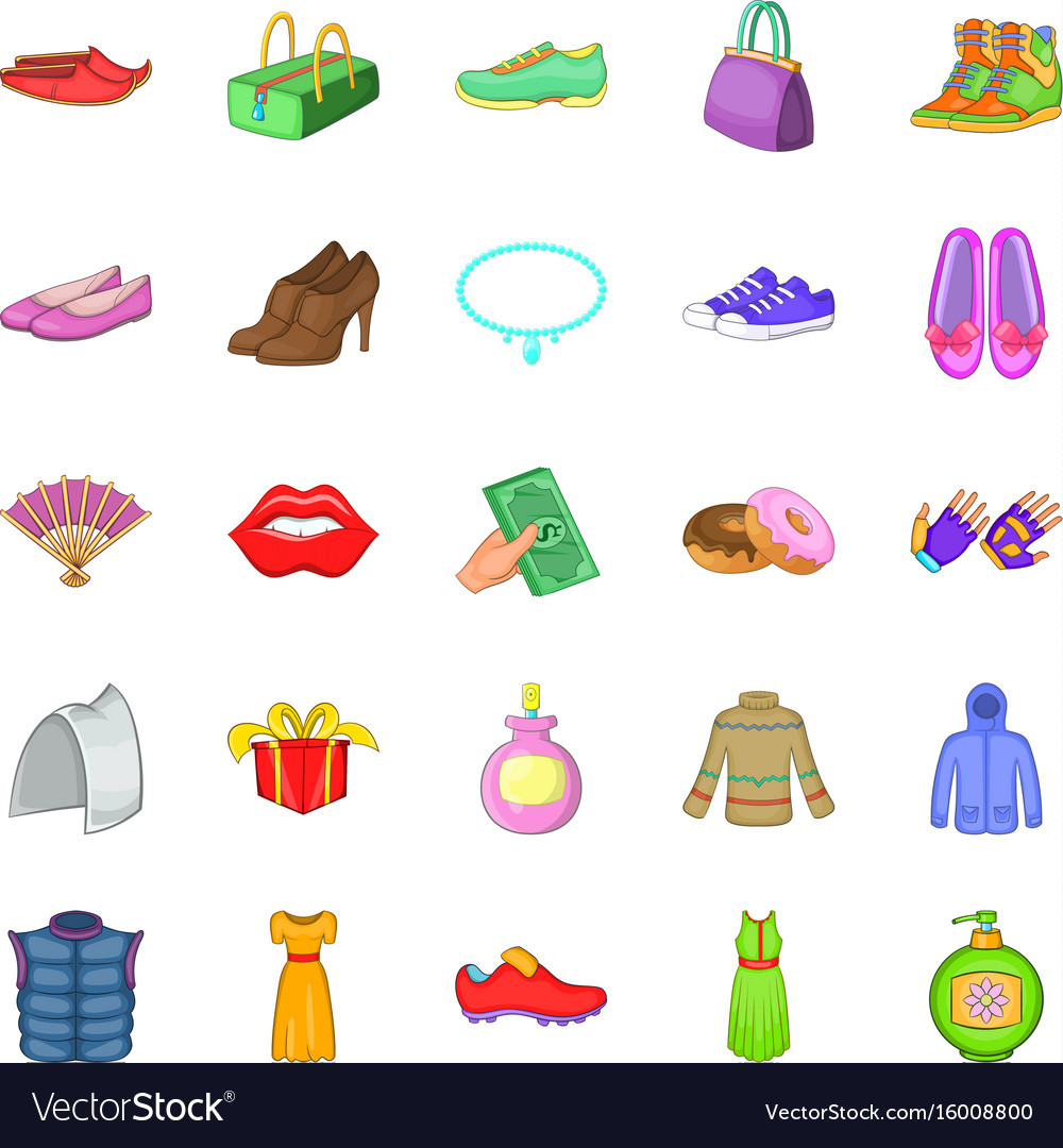 Buying shoes icons set cartoon style vector image