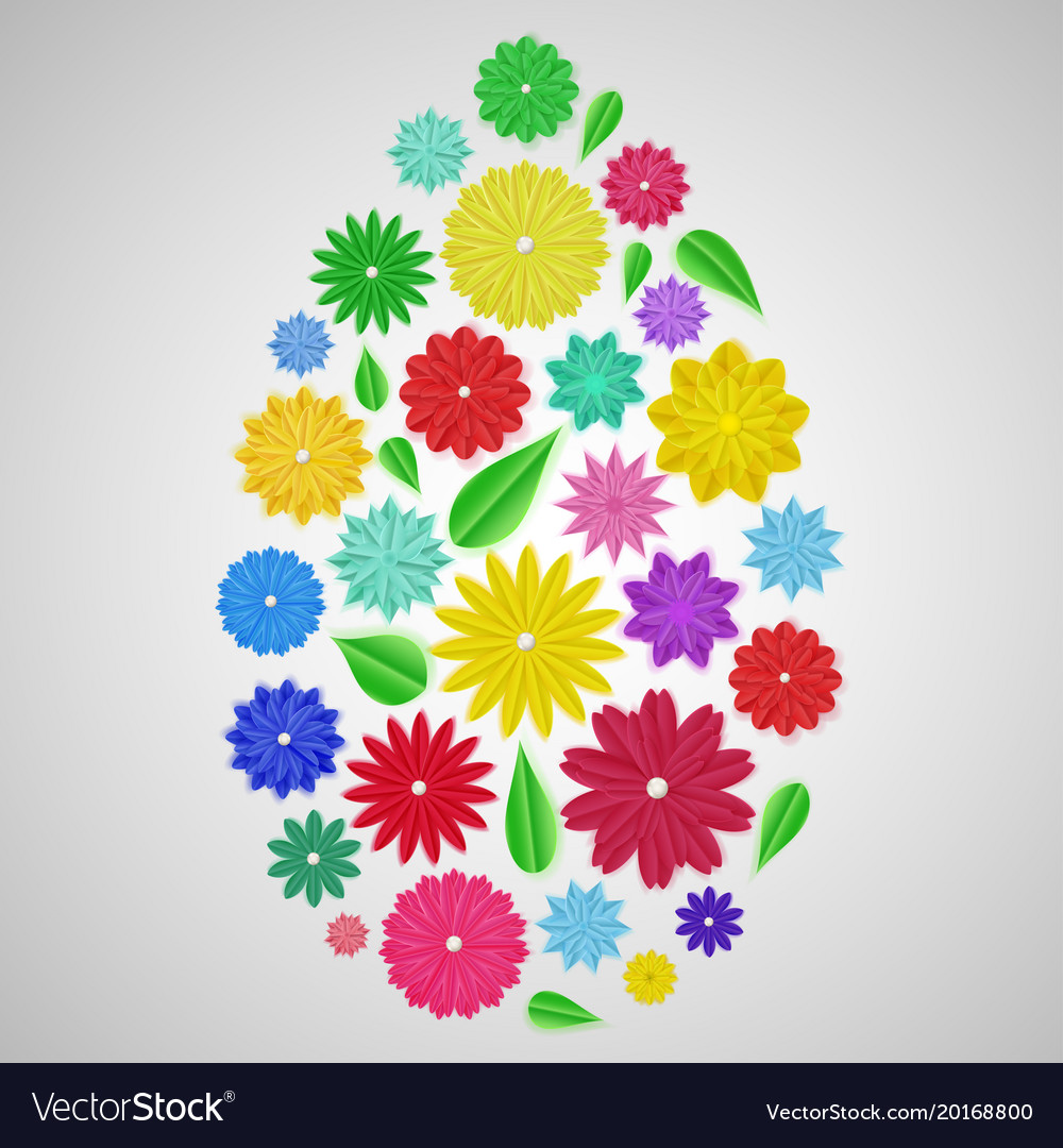 Easter Egg Of Paper Flowers Royalty Free Vector Image