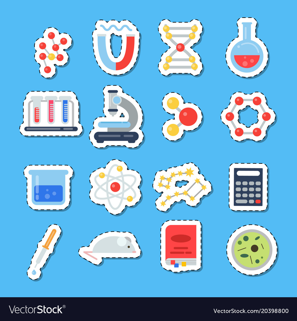 Flat style science icons stickers with