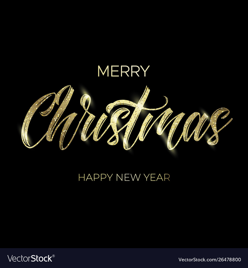 Golden text on black background merry christmas