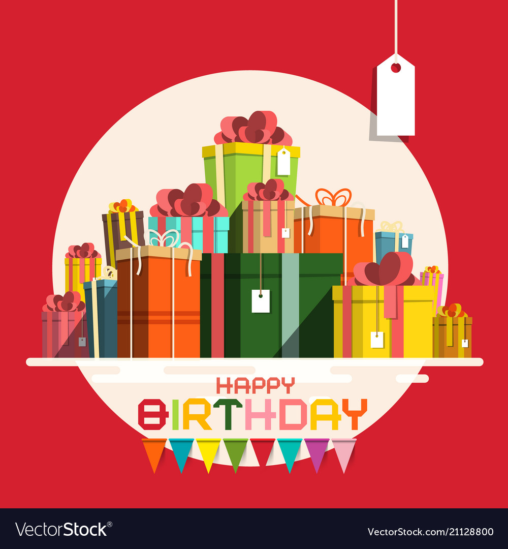 Happy birthday card with paper gift boxes pile vector image