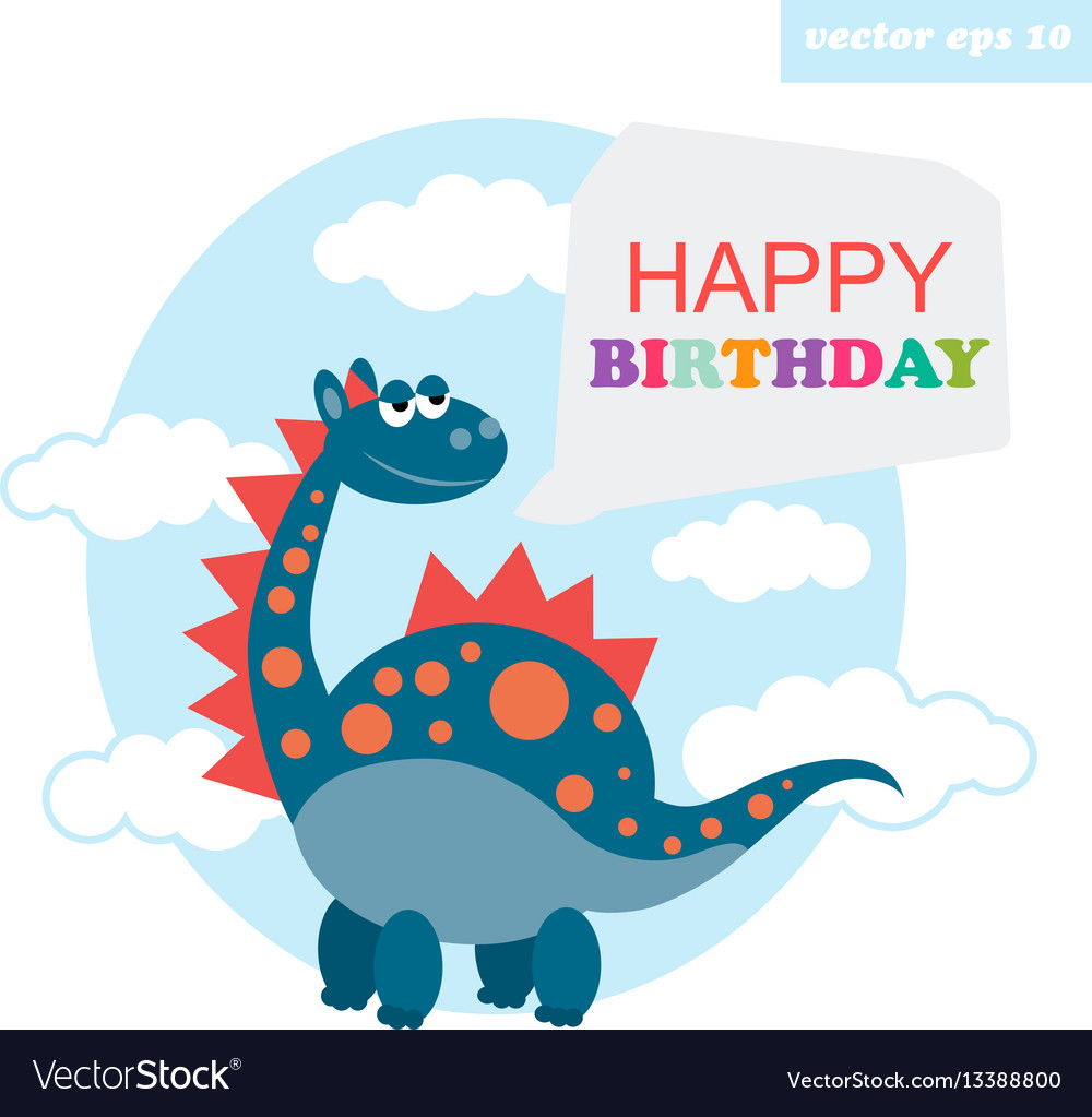 Happy birthday dragon vector image